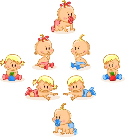 bebe sentado: Ilustraci�n vectorial de los beb�s varones y las ni�as beb�s