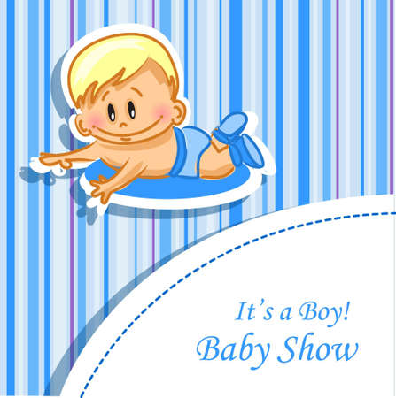 Announcement card with baby boy, vector  Vector