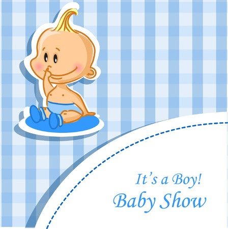 Announcement card with baby boy Vector