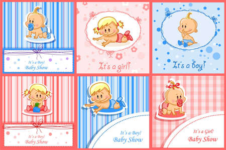 Announcement cards with baby, vector background Vector