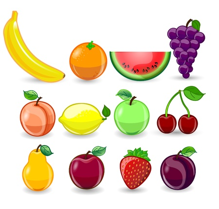 fruit illustration: Cartoon orange, banana, apples, strawberry