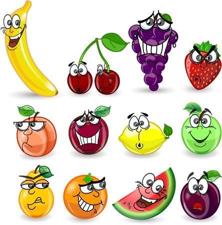 fruta tropical: Dibujos animados de color naranja, pl�tano, manzana, fresa, pera