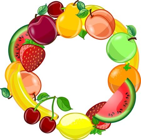 cartoon fruit: Fruit background, vector  Illustration