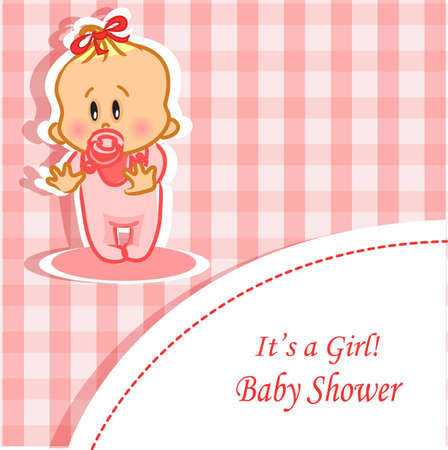 Announcement card with baby girl Vector