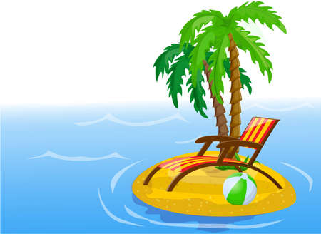 Travel background, palm, ball, lounge  Vector
