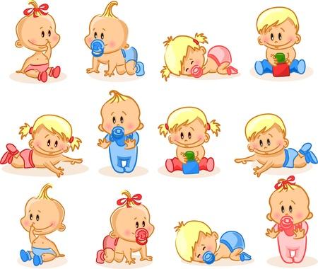 Vector illustration de bébés filles
