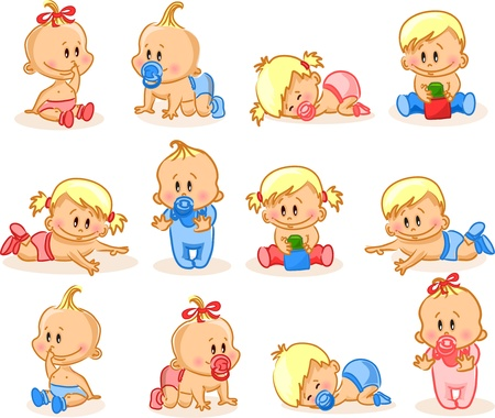 baby girl: Vector illustration of baby girls