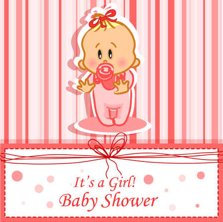 baby girl: Announcement card with baby girl Illustration
