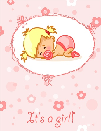 arrival: Announcement card with baby girl Illustration