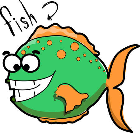plunging: Cartoon fish  Illustration