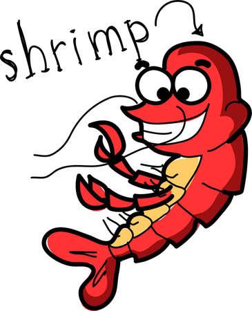 plunging: Cartoon shrimp