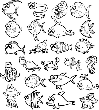 seahorse: Big set of cartoon black and white marine animals