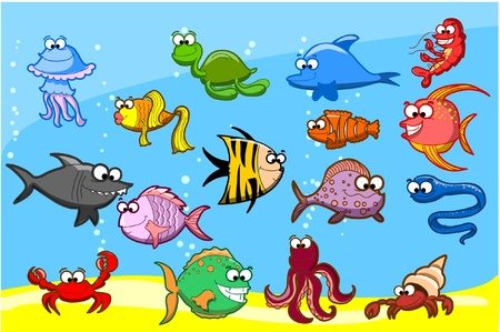 shell fish: Cartoon fishes in the sea, vector illustration