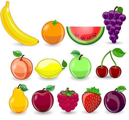 Cartoon orange, banana, apples, strawberry, pear Vector