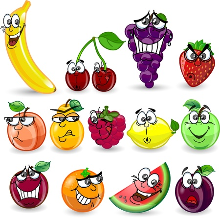 Cartoon orange, banana, apples, strawberry, pear Stock Vector - 12480398