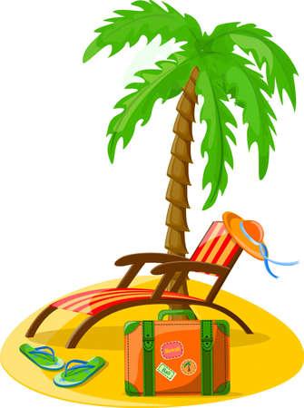flipflops: Travel background, palm, lounge, flip-flops  Illustration