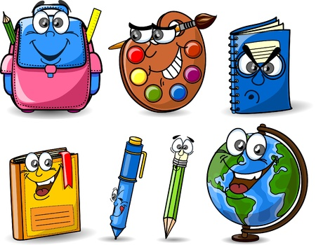 school backpack: Cartoon school bags, pencils, books, notebooks Illustration