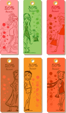 Labels discounts for fashionable clothes Vector