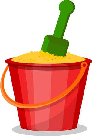 spanking: Cartoon bucket of sand Illustration