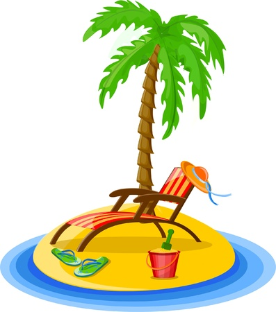 Travel background, palm, lounge Vector
