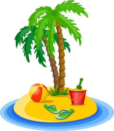 Travel background, palm, ball Illustration