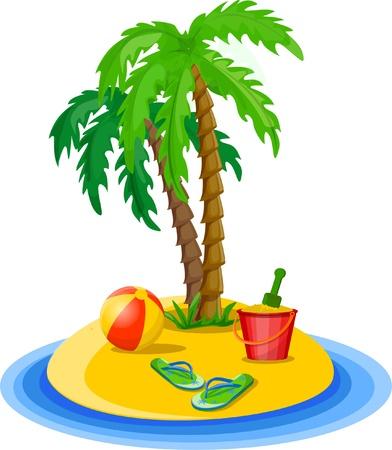 spanking: Travel background, palm, ball Illustration