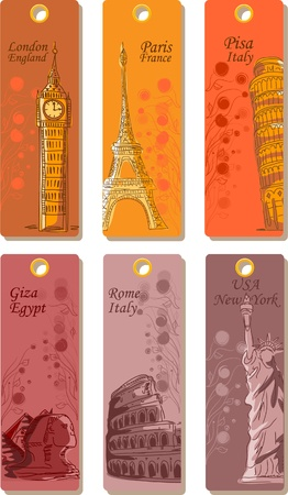 travel collage: Labels for travel around the world, the vector