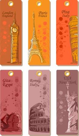 destinos: Las etiquetas de viajes de todo el mundo, el vector
