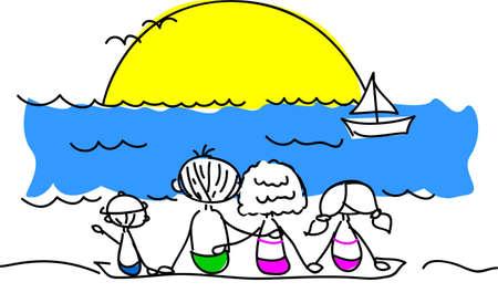 enfant maillot de bain: famille sur la plage en regardant le soleil Illustration