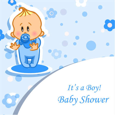 baby boy shower: Announcement card with baby boy