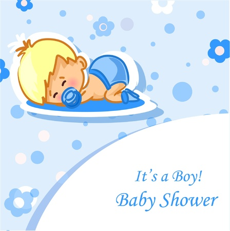 Announcement card with baby boy Stock Vector - 12822963