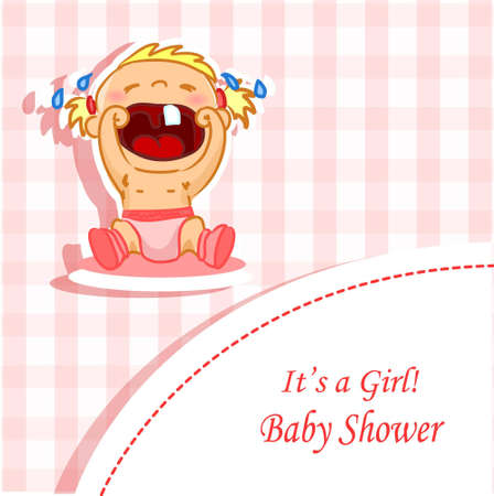 Announcement card with baby girl, illustration background  Vector
