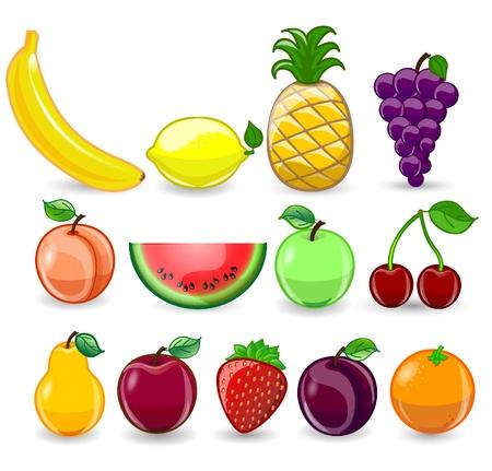 Cartoon orange, banana, apples, strawberry, pear Vetores