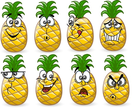 pineapple juice: Cartoon pineapples with emotions