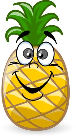 pineapple slice: Cartoon ananas con le emozioni