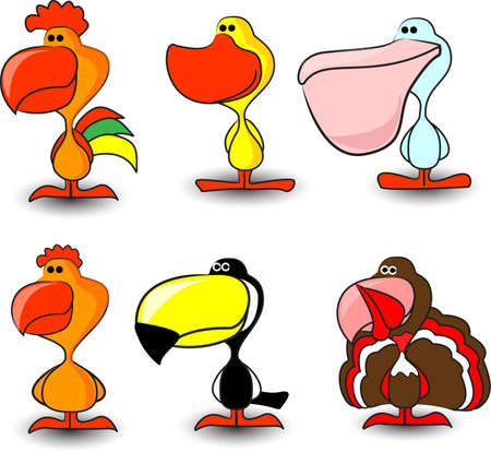 nice set of of birds, including a rooster, hen Stock Vector - 12822953