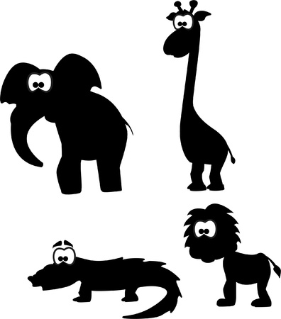 Cartoon silhouettes of animals  Vector