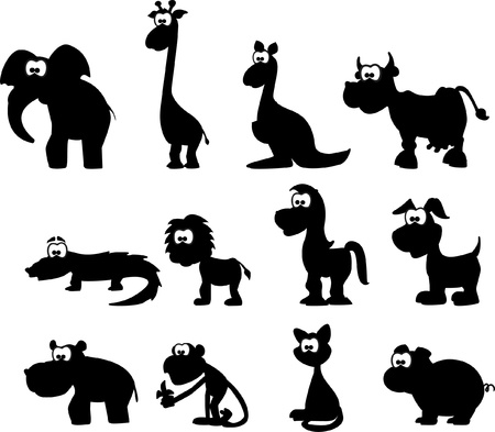 australia jungle: Cartoon silhouettes of animals