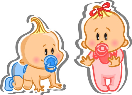 Ilustración del niño y la niña