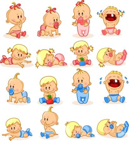 cochecito de bebe: Ilustraci�n de los beb�s varones y las ni�as beb�s