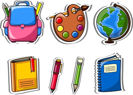 finishing school: Cartoon school bags, pencils, books, notebooks Illustration