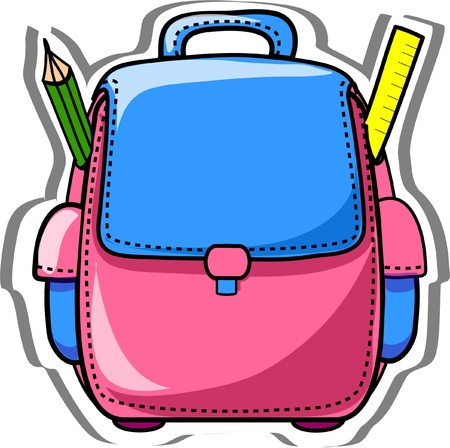 school backpack: Cartoon school bag  Illustration