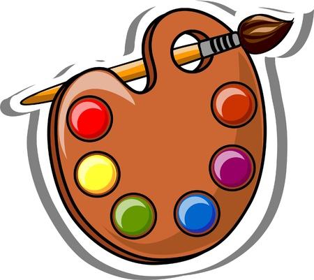 glue: Cartoon Schule Palette von Farben