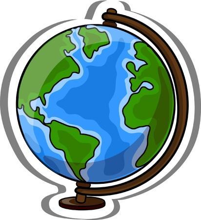 writing equipment: Cartoon school globe