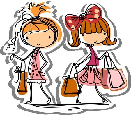 Cartoon fashionable girls Stock Vector - 12823305