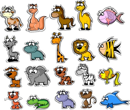 Big set of cartoon animals and fishes  Vector