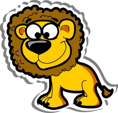 australia jungle: Cartoon cute lion,