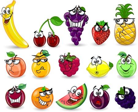 plum: Cartoon orange, banana, apples, strawberry
