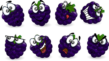Cartoon blackberry with emotions  Vector