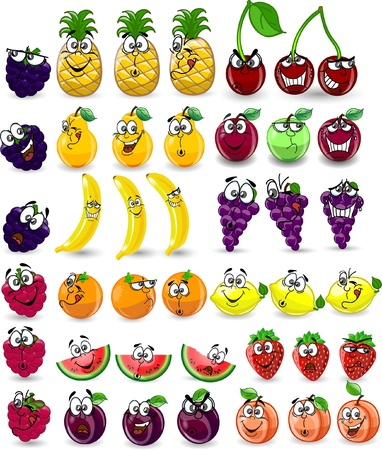 Cartoon orange, banana, apples, strawberry Stock Vector - 12823393